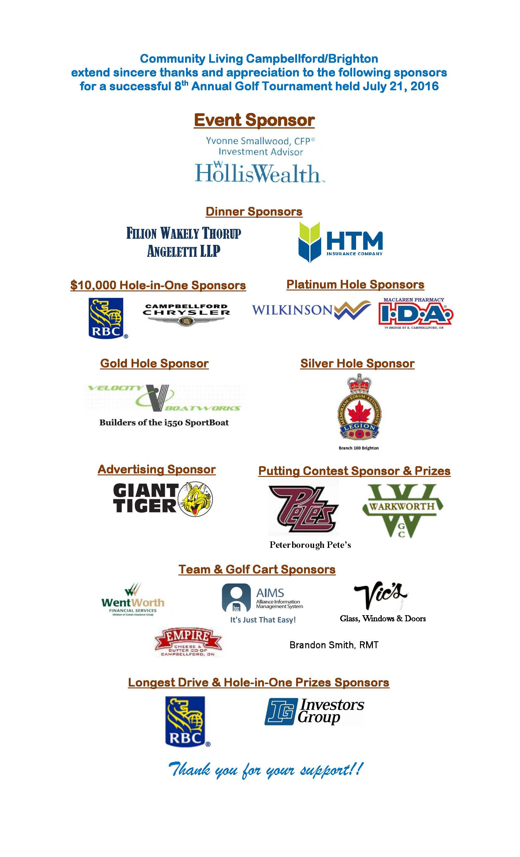 Event Sponsors for our 2016 CLCB Golf Tournament