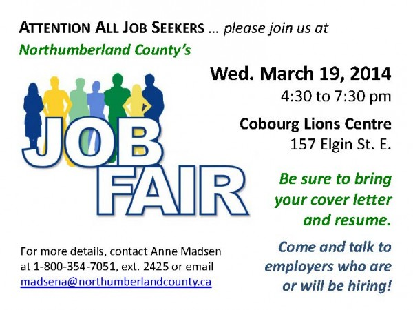 Northumberland Job Fair FLYER for Job Seekers - 2014